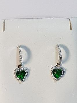 Brincos prata meia argola zircónias com zircónia coração verde - DB