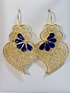 Brincos prata dourada Coração de Viana 42.34 com esmalte - AN