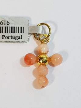 Cruz em Ouro e Bolas Coral 4mms