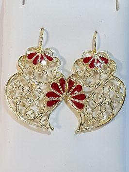 Brincos prata dourada Coração de Viana 38.30 com esmalte vermelho - DB
