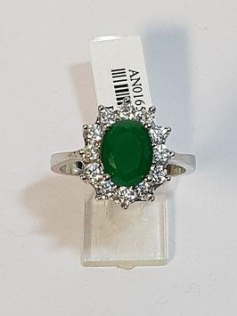 Anel em prata com pedra verde e zircónias - Diana - AUR