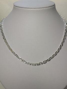 Fio Prata Malha Cadeado Lapidado - Grossura 140
