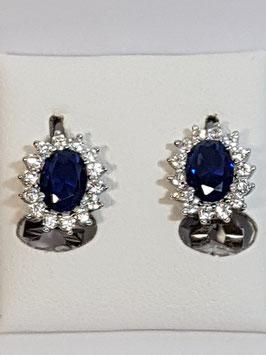 Brincos prata tipo Diana azul 13 - AU
