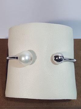 Pulseira escrava aberta em prata com bola e pérola - AUR