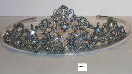Tiara de cabelo em prata arcos pérolas e zircónias - N - RB