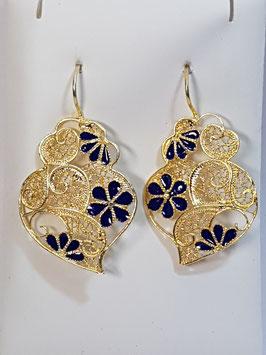 Brincos prata dourada Coração de Viana 37.29 com esmalte azul - AN
