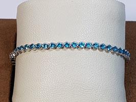 Pulseira prata tipo riviera com zircónias azuis em aro 21.17.4 - AU