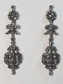 Brincos prata com marcassitas e laço pequeno 55 - RB