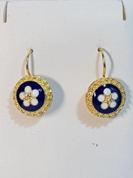 Brincos prata dourada com flor de esmalte azul 20.12 - DB