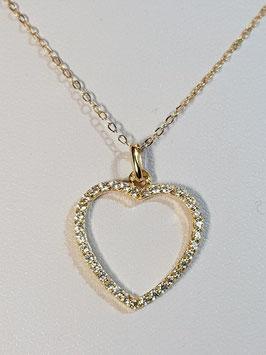 Fio ouro amarelo malha cadeado com coração aberto de zircónias - AROT