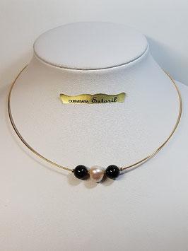 Fio ouro arame com onix e pérola cultura - FI00312