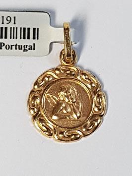 Medalha redonda anjo com aro - 14 - AR