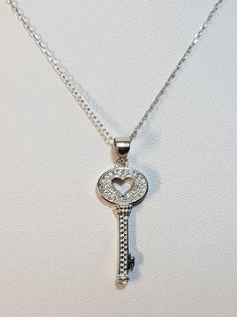 Fio prata chave coração com zircónias - DB/PP