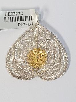 Coração de filigrana invertido em prata bicolor - Pestana / Borboleta - DB