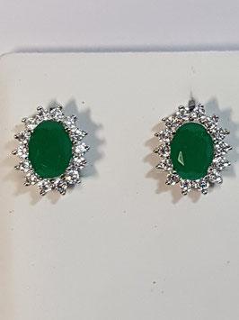 Brincos prata tipo Diana verde 13 - AU