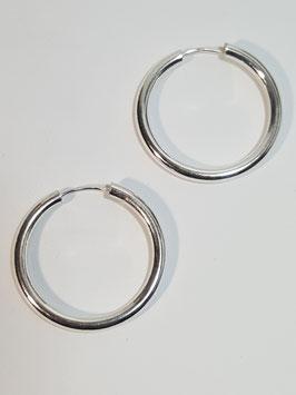 Brincos prata argola canevão redondo 3mms - PP/BR123