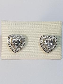 Brincos prata coração de zircónias - DB