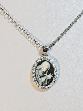 Fio prata com medalha de Santa Rita em aro de zircónias - FM