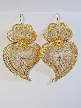 Brincos prata coração de Viana dourados 70.60 abº - AN