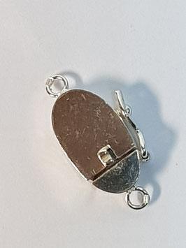 Fecho Colar Prata Caixa Oval Liso - FE00495