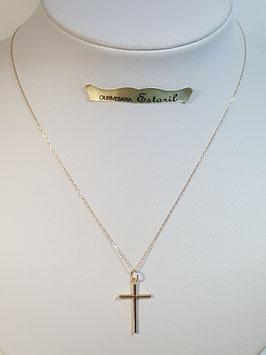 Fio ouro cadeado fino com cruz de fio redondo - MM