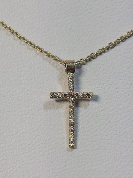 Fio Ouro 9kts - Cruz de zircónias 14.8 - AR