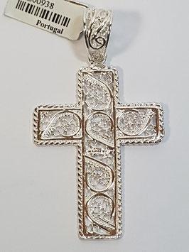 Cruz de filigrana em prata com rebordos em fio torcido - RS