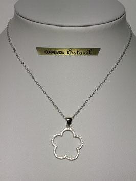 Fio prata com flor aberta de zircónias - JCC