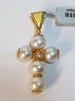 Cruz em Ouro e Pérolas Cultura e Zircónia 6mms