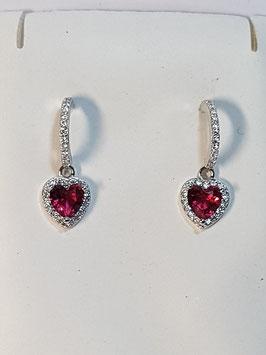 Brincos prata meia argola zircónias com zircónia coração vermelho - DB