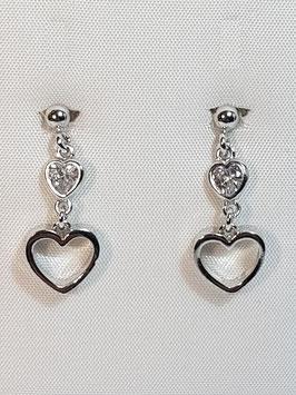 Brincos prata bola + 2 corações - DB