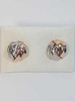 Brincos ouro meia bola bicolor traçada - OC