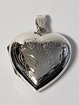 Medalha coração de abrir gravado 25 - PP
