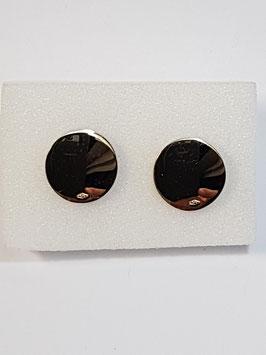 Botão de Punho Redondo Liso Capeado a Ouro 18Kts - CAD