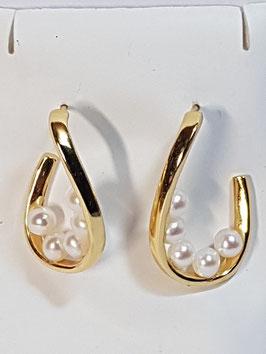 Brincos argolas prata dourada onduladas pérolas - RR
