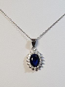 Fio prata com zircónia azul e aro de zircónias - Diana - AN