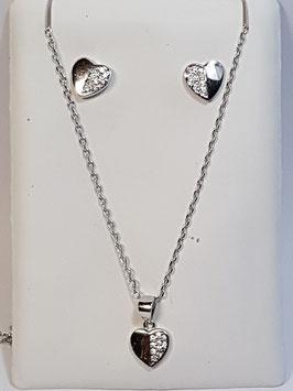 Fio e brincos em prata com coração e zircónias - AU