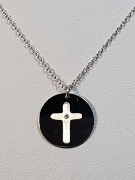 Fio de prata com medalha com cruz e zircónia - CAD