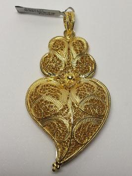 Coração de Viana de filigrana em prata dourada duplo 55.65 - AN