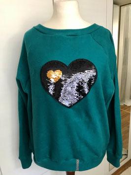 Pullover mit Raglanärmeln aus Fleece mit Wendepailletten Größe 38/39