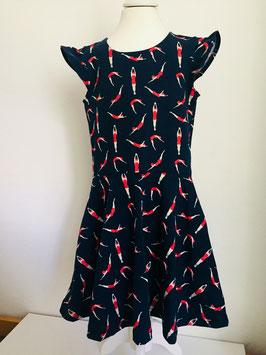 Kleid aus Jersey mit Drehrock und Flügelärmel Größe 116