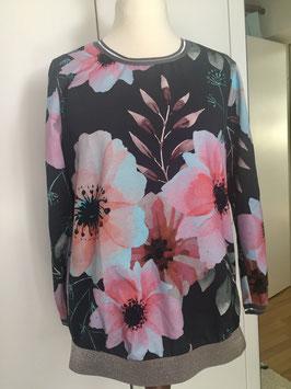 Pullover mit Glitzerbündchen und Blumen Größe 39-40
