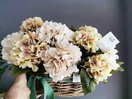 Cesto Hortensias Blancas y Crema