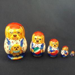 """Matroschka 5 tlg klein  mit Motiv """"Hund mit den Spielzeuge"""""""