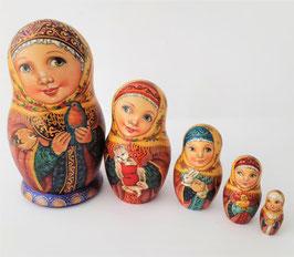"""Matroschka 5 tlg    """"Mädchen mit einem Vogel"""""""