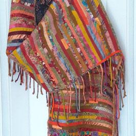 Schal, Decke mit Fransen in Patchwork-Technik