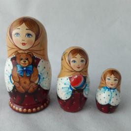 """Matroschka                                 3-teilig """"Mädchen mit Teddy Bär"""""""