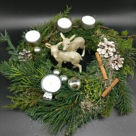 Adventskranz weiß, silber