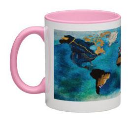"""Mug Planisphère panoramique rose / Promo """"Automne-Hiver 2018"""" = réduction exceptionnelle de 12,5% pour toute commande jusqu'au 31 mars 2019"""