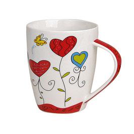 """Tasse """"Rote Herzen"""" aus Porzellan"""